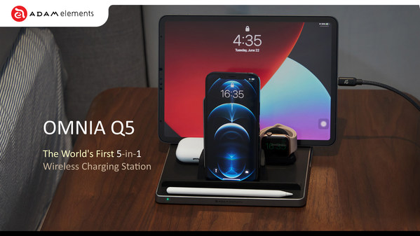 ADAM elements launches its new all-in-one solution for Apple enthusiasts, the OMNIA Q5 5-in-1 wireless charging station.