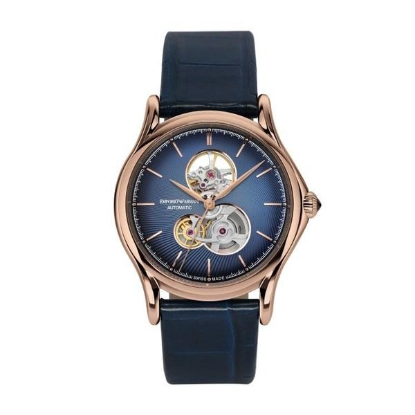 Emporio Armani 瑞士腕表系列男士蓝宝石镂空表盘自动机械腕表 (ARS3406)