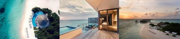 从左至右: Riviera 酒吧、水上泳池别墅、夕阳下的马尔代夫艾美水疗度假酒店