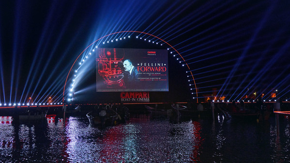 The global premiere of Campari Red Diaries 2021: Fellini Forward at the Campari Boat-in Cinema during the 78th Venice International Film Festival- La Biennale di Venezia, a project set to explore the creative genius of Federico Fellini using Artificial Intelligence.