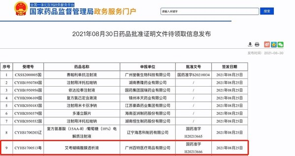 首个艾考糊精腹膜透析液(爱透佳)在中国获批