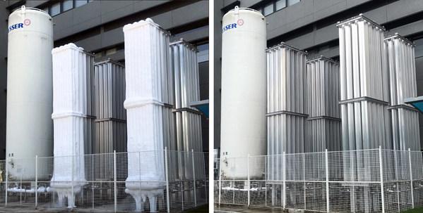原液化器表面冰层消失,液氮汽化冷能得到充分利用