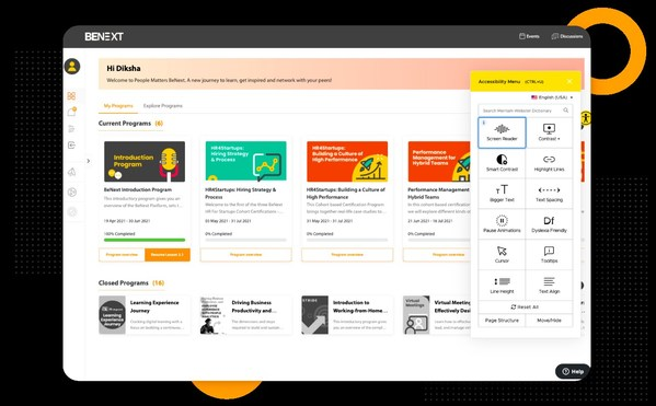 BeNext Dashboard with accessibility widget to support differently abled learners