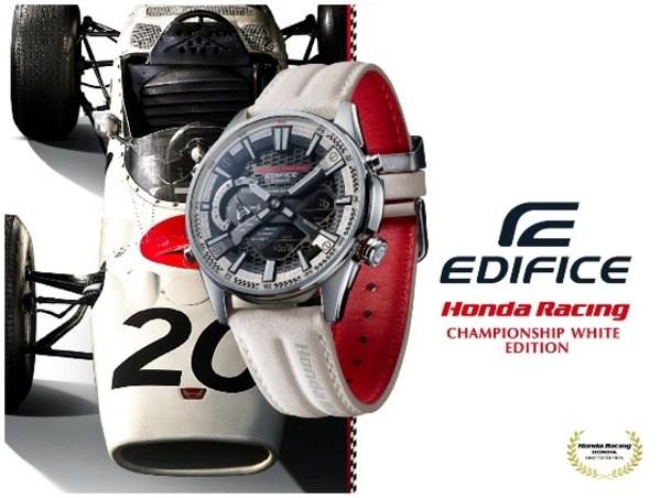 卡西欧发布与本田赛车合作款冠军白EDIFICE手表