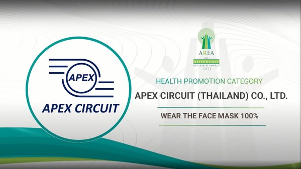 Apex Circuit (Thailand) Co., Ltd. Awarded at the Asia Responsible Enterprise Awards 2021 for 'Wear the Face Mask 100%' under Health Promotion Category