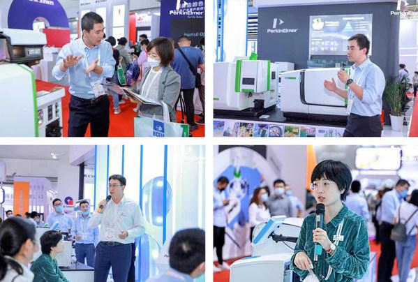 珀金埃尔默的技术专家们在展台上为客户进行技术和产品讲解