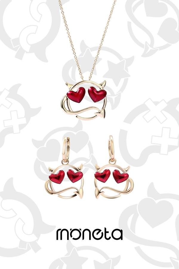 MOMO系列9K金、珐琅项链及耳饰