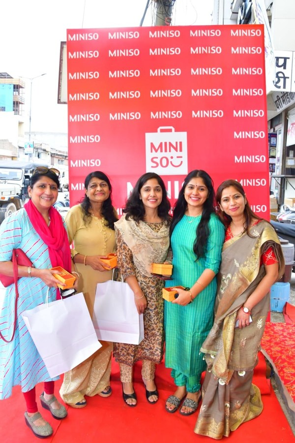People on the MINISO new store opening ceremony in India. It has opened seven new stores within September in India.