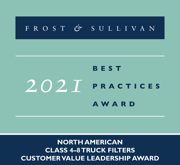 Donaldson Company Recognized by Frost & Sullivan for Improving Fleet Efficiency with Its Connected Filtration Products