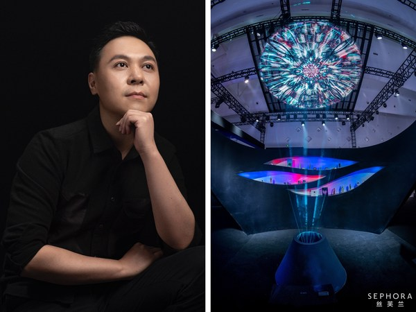 Chinese artist Tian Jin with his artwork Rippling Light