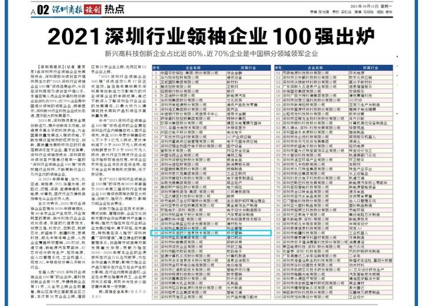 """东信营销荣登""""2021深圳行业领袖企业100强""""榜单"""