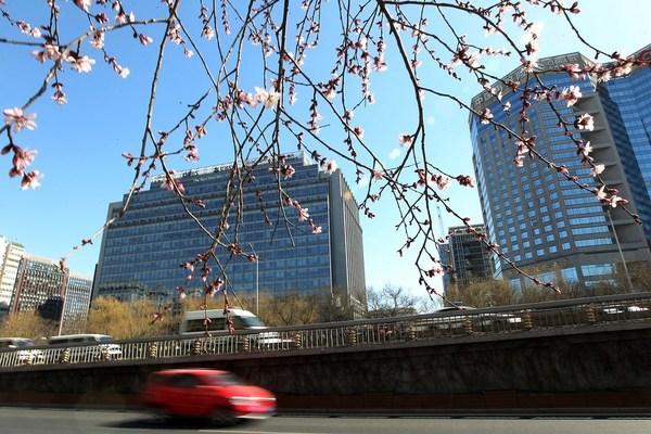 北京西城區金融街附近景觀,多家商業銀行的總部設在這裡。(新華社)