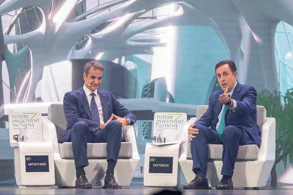 Prime Minister of Greece Kyriakos Mitsotakis speaks with moderator John Defterios, former CNN Anchor and APCO Worldwide Senior Advisor, on the first day of the Future Investment Initiative in Riyadh, Saudi Arabia.